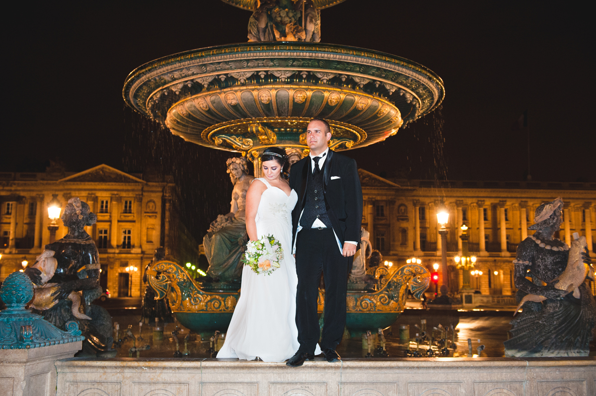 photographe de mariage a Paris, concorde by night